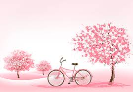 pink tree with bike background vector 01 vector