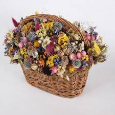 dried flowers dried flowers in woven basket large