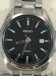 stainless steel bracelet seiko images Men 39 s seiko sur061 stainless steel bracelet black 100m quartz dial jpg