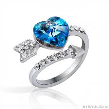 crystal fashion rings images Sweet arrows of love heart crystal ring fashion rings jewelry jpg