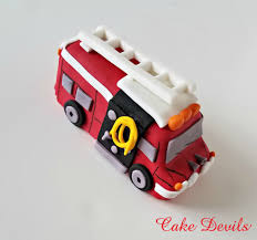firetruck cake truck cake topper fondant handmade edible firetruck