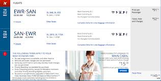 delta baggage fees deal alert newark to san diego from 144 round trip