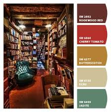 library inspired strong deep bold scheme palette living room