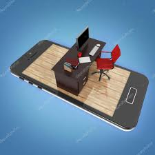 mobile office desk office desk with monitor keyboard armchair and mouse on smartphone
