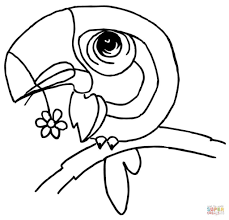 bird with a flower in the beak pattern coloring page animal