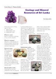 Types Of Rocks Geology U0026 Mineral Resources Of Srilanka
