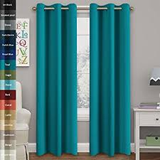 Torquoise Curtains Turquoize Solid Blackout Drapes Room Darkening Teal