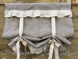 Ruffled Kitchen Curtains Linen Curtains Ruffled Country Kitchen Tie Up Valance Rustic