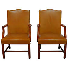 Library Chair Pair Of Chippendale Leather Library Chairs For Sale At 1stdibs