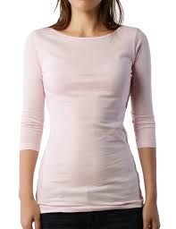 light pink top women s le3no premium womens fitted 3 4 sleeve boat neck soft jersey top le3no