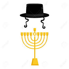 chanukah hat vector illustration golden menora or menorah usually used at