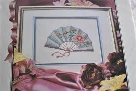 Oriental Wall Fan by Silk Ribbon Embroidery Kit Oriental Fan Aqua Blue Pink Rose