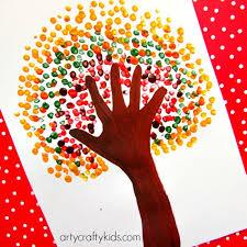 autumn handprint tree arty crafty