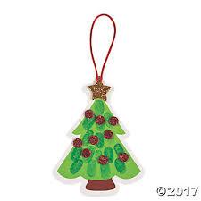 thumbprint christmas tree ornament craft kit oriental trading