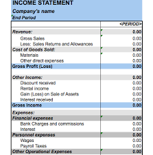 Personal Income Statement Template Excel Excel Income Statement Template Png