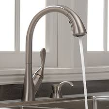 delta ashton kitchen faucet shop delta ashton stainless 1 handle deck mount pull kitchen