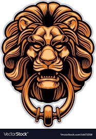 lion door knocker decoration of lion door knocker royalty free vector image