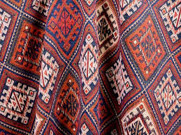 Upholstery Warehouse Brockhall Designs Kilim Weave Fabric Navy Red Bone Curtains