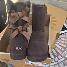 ugg bailey bow sale size 7 42 ugg shoes ugg authentic bailey bow brown chocolate sz 7