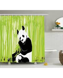 Bamboo Print Shower Curtain Shower Curtain Panda In Bamboo Forest Print For Bathroom