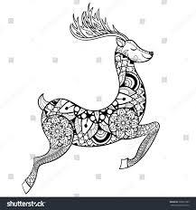 zentangle reindeer anti stress coloring stock illustration