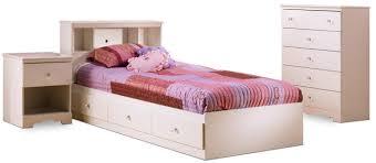 White 3 Piece Bedroom Set Versatile Durable Crystal White Kids Twin Wood Captain U0027s Storage