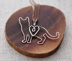silver wire necklace images Cat necklace kitten copper pet jewelry sterling silver wire jpg