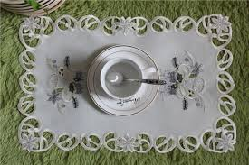 napperon de cuisine chaude blanc satin broderie table napperon tissu dentelle pad