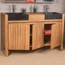 salle de bain luxe meuble sous vasque double vasque en bois teck massif 2