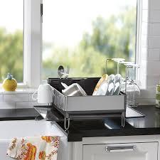 amazon com simplehuman steel frame dish rack with wine glass