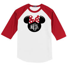 minnie mouse monogram disney minnie mouse 3 4 sleeve baseball shirt w monogram initials