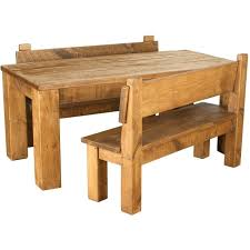 rustic plank solid pine dining table pew bench set table h 80cm 4