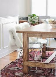 vintage kilim rug under diy farmhouse dining table homedecor