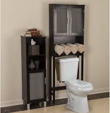 Over The Toilet Storage Cabinets Small Bathroom Decoration Using Black Wood Mirrored Bathroom