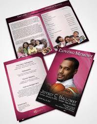basketball c brochure template 2 page graduated step fold funeral program template brochure pink