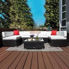 outsunny 7 piece outdoor patio pe rattan wicker sofa sectional