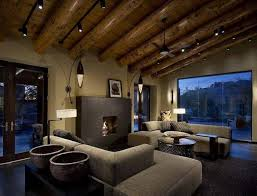 lighting on exposed beams living room with exposed beams and low profile lighting fixtures