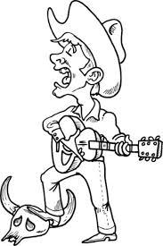 cowboy singing playing guitar coloring free printable