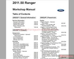 ford ranger 2011 50my workshop repair manual auto repair manual