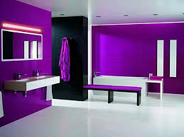 bright bathroom interior with clean interior the bright wall paint colors black and purple offering