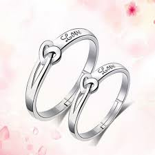 vintage love rings images Romantic heart pattern couple rings for lovers silver color jpg