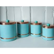 turquoise kitchen canisters vintage 1950s turquoise and copper kitchen canisters polyvore