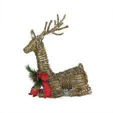 30 lighted rattan reindeer with bow and pine cones