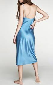 light blue silk dress gwyneth silk slip dress by sleeper moda operandi