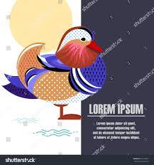 vector illustration mandarin duck template posters stock vector