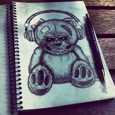 scary black and white teddy bear in earphones tattoo design