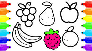 coloring pages fruit banana orange apple raspberry and pear