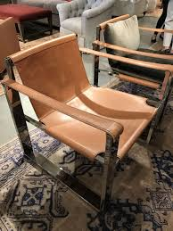 leather strap chair with stainless steel frame mecox gardens