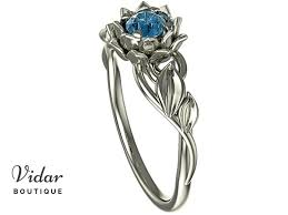 lotus engagement ring unique blue diamond lotus flower engagement ring vidar boutique
