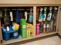 Under The Kitchen Sink Storage Tension Rod For Hanging Spray Cleaners Under Kitchen Sink Great